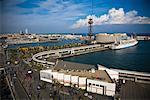 Blick von der Seilbahn am Port Vell, Barcelona, Spanien