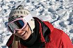 Portrait of Woman in Winter, Wearing Ski Goggles