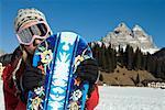Frau Snowboarden, Tre Cime di Lavaredo, Misurina, Auronzo di Cadore, Belluno, Region Venetien, Italien