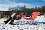 Woman Sitting in Lawn Chair, Cortina D'Ampezzo, Belluno, Veneto, Italy