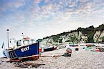 Fishing Boats on Beach, Beer, Devon, England