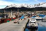 Quais commerciaux et ville côtière, Ushuaia, Patagonie, Argentine