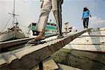 People Loading Cargo Onto Boat, Sunda Kelapa, North Jakarta, Jakarta, Java, Indonesia