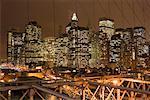 Brooklyn Bridge und Manhattan Skyline, New York City, New York, USA