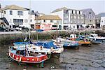 Bateaux à marée basse, Mevagissey, Cornouailles, Angleterre