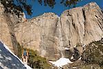 Hiker by Yosemite Falls, Yosemite National Park, California, USA