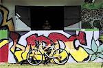 Réunion, maison avec graffiti