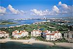 Vue aérienne de Miami Beach, Fisher Island, Florida, États-Unis