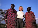Tanzania, Manyara Region, young Maasai whith a blond woman