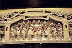 Chine, Zhejiang, Wushen, maison ancienne, sculpté de poutre en bois