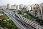 Chine, Beijing, autoroute urbaine et vue d'ensemble