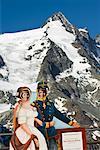Children Posing in Front of Grossglockner Mountain, Salzburg Land, Austria