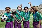 Équipe de soccer winning
