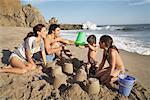 Family on Beach, Malibu, California, USA