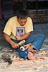 Man Carving Statue, Samosir Island, Sumatra, Indonesia