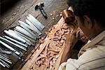 Wood Carver at Work, Pandai Sikat, Sumatra, Indonesia