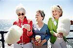 Women Eating Cotton Candy, Santa Monica Pier, Santa Monica, California, USA