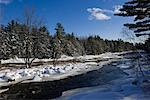 Fluss im Winter, Laurentides, Québec, Kanada