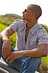 Portrait of Man Wearing Sunglasses Outdoors