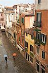 Übersicht über Spur im Regen, Venedig, Italien