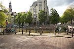 Sidewalk along Canal, Amsterdam, Netherlands