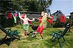 Couple dancing in backyard