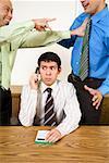 Businessman talking on telephone