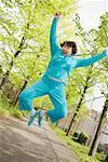 Woman jumping outside