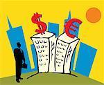 Kaufmann von Gebäuden stehen und betrachten Währungssymbole