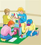 Children playing block game