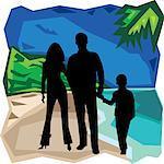 Vue de face de famille debout ensemble