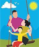 Parents avec enfants sur une balançoire