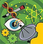 Satellite with cogwheels, eye and stars