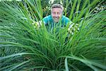 Man Looking Through Overgrown Grass