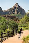 Faire de la bicyclette à Zion National Park, Utah, Etats-Unis