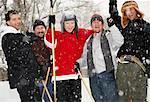 Men Cheering with Hockey Sticks