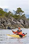 Man Sea Kayaking, Nootka Sound, British Columbia, Canada