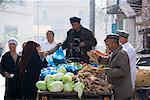 People at Market Vegetable Stand, Kashgar, Xinjiang Province, China
