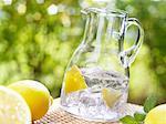 Glaskanne mit Zitronenspalten und Eiswürfel Mineralwasser