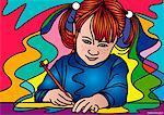 Illustration of Girl Drawing