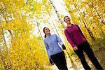 Women Taking a Walk in a Forest, Methow Valley Near Mazama, Washington, USA