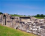 White Island, bas Lough Erne, Co Fermanagh, Irlande, portes de style roman et figures sculptées d'hommes d'église à distance