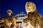River Liffey, Dublin City, Ireland; Famine statues by river