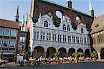 Mairie place Kohlmarkt, Sainte-Marie dans le fond, Lübeck, Schleswig-Holstein, Allemagne
