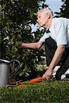 Profil de côté d'un homme senior jardinage
