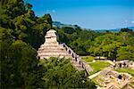High angle view of old ruins of buildings, Templo De los Inscripciones, Palenque, Chiapas, Mexico