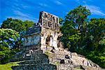 Tourists at old ruins of a temple Templo De La Cruz, Palenque, Chiapas, Mexico
