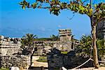 Ruines d'un château, Zona Arqueologica De Tulum, Cancun, Quintana Roo, Mexique