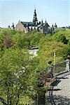 Gardens at Skansen, Nordic Museum in the Background, Djurgarden, Stockholm, Sweden