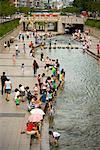 People by Stream in City, Cheonggyecheon, Seoul, South Korea